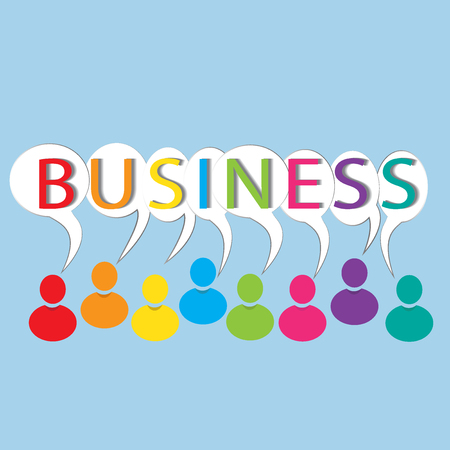 Business words colorful people vector image Illustration