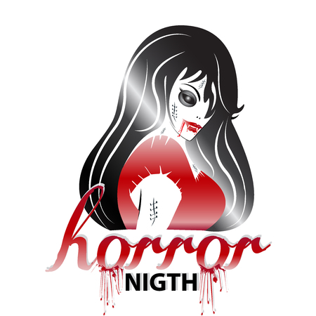 Young woman face in day of the dead zombie . Halloween horror icon logo vector