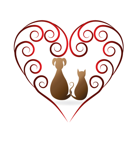 green heart: Love pets cat and dog vintage design logo vector image