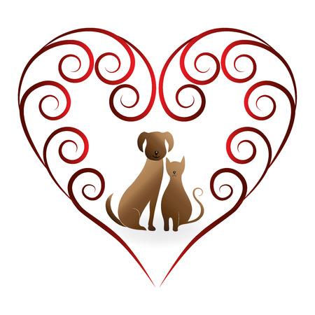 labrador: Love pets cat and dog vintage design logo vector image
