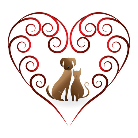 Love pets cat and dog vintage design logo vector image