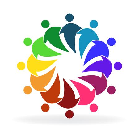 People hug social media group friendship logo vector image