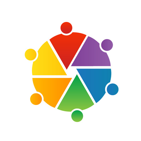 free education: Logo teamwork photographers team around circle