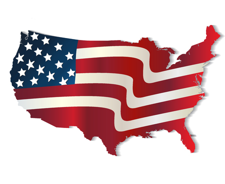 navy blue background: Map of United States of America vivid colors. Flag image vector design