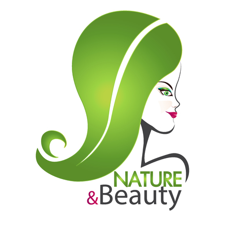 girl in nature: Nature and beauty woman cosmetic salon logo design