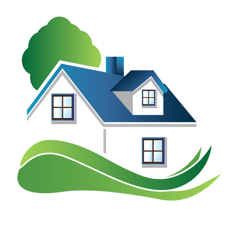 House with tree real estate image logo vector design Illustration