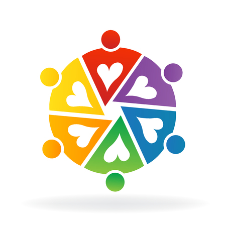 Logo teamwork colorful people working together with love Illustration