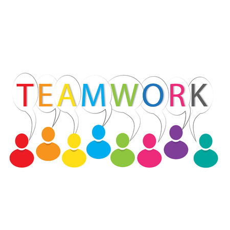 help: Teamwork words colorful people logo vector