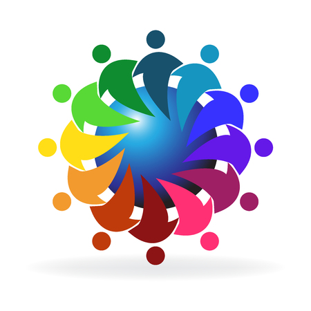 hand colored: Teamwork hugging people around world logo vector Illustration