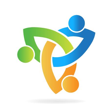 Logo, travail d'équipe, partenaires, tenue, mains, vecteur, conception