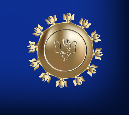 Golden vintage seal of a rose logo vector image