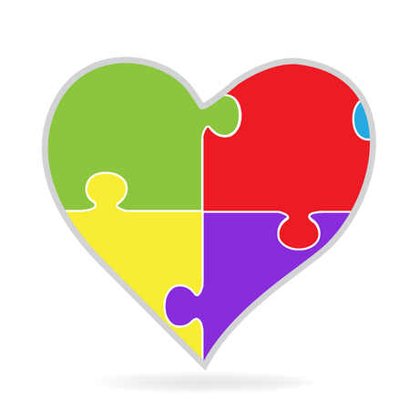 Logo of puzzle heart colorful graphic vector design Illustration