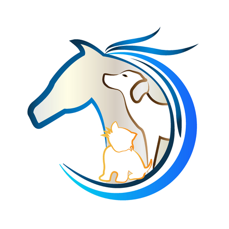 Logo of horse, dog and cat. Animal lovers sticker vector