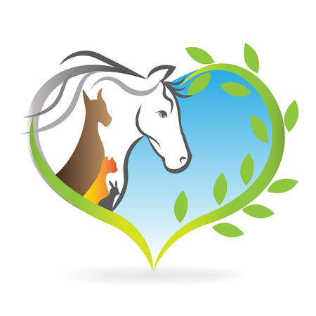 textile industry: Logo vector horse dog cat and rabbit heart love silhouettes Illustration