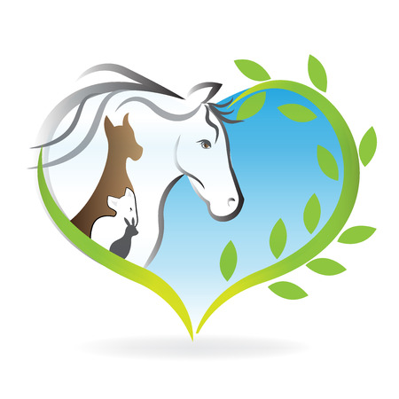 Logo horse, dog ,cat and rabbit heart love silhouettes  イラスト・ベクター素材