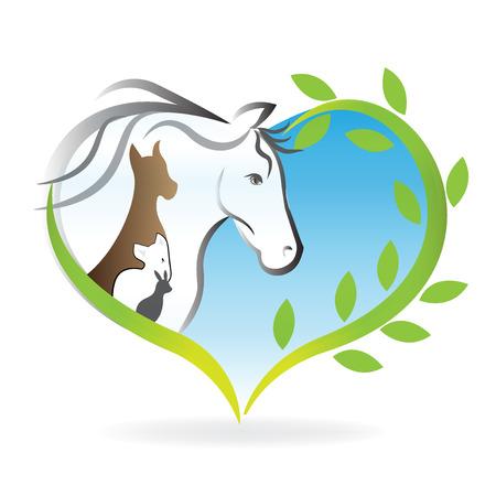 Logo caballo, perro, gato y conejo corazón amor siluetas