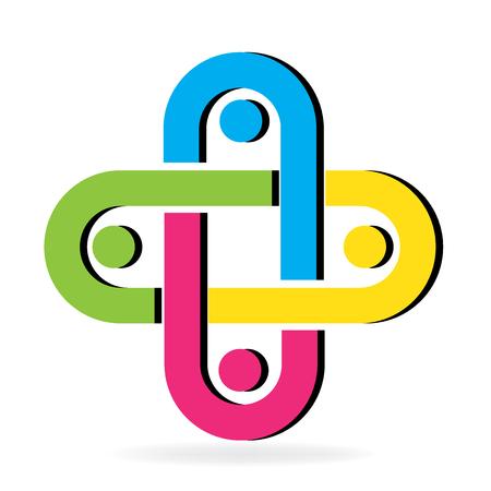 Logo holding hands friendship concept vector image