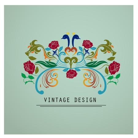 Vintage flowers stylized image logo vector design
