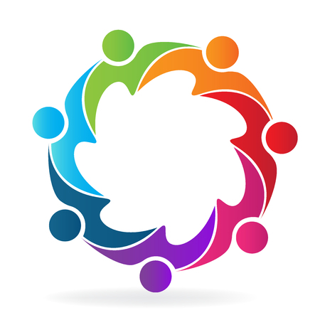 Logo, vecteur, travail d'équipe, gens d'affaires, câlin Logo