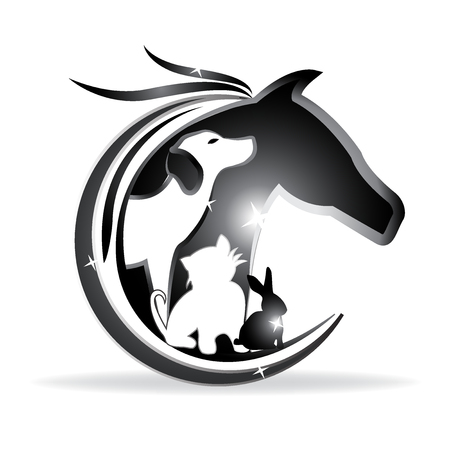 Logo vector horse, dog ,cat and rabbit sparkle silhouettes Çizim