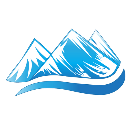 Mountains blue logo Illustration