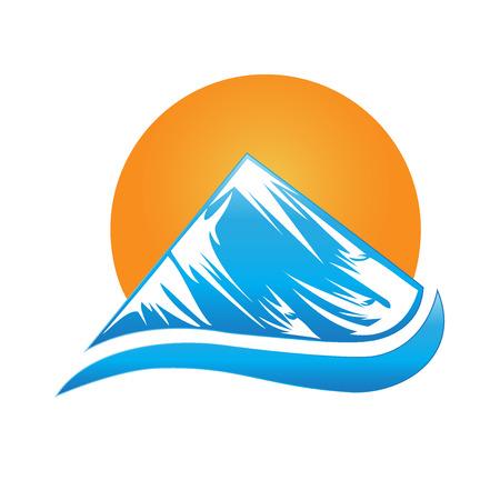 water wave: Sun and mountain logo vector