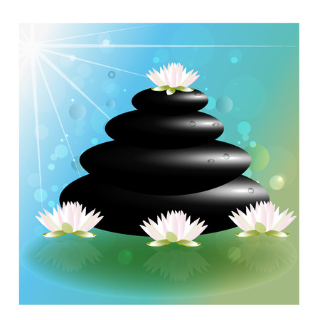 meditation man: Spa massage lotus flowers zen stones vector background