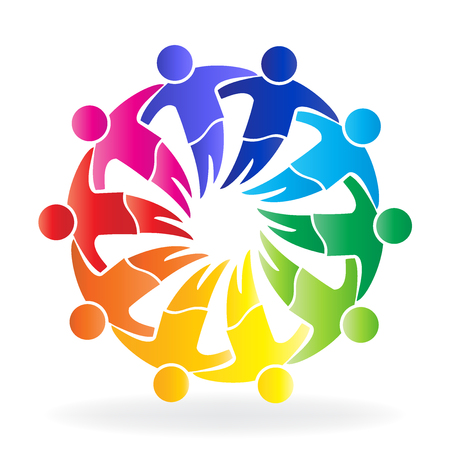 happy: Vector teamwork hugging people logo icon Illustration