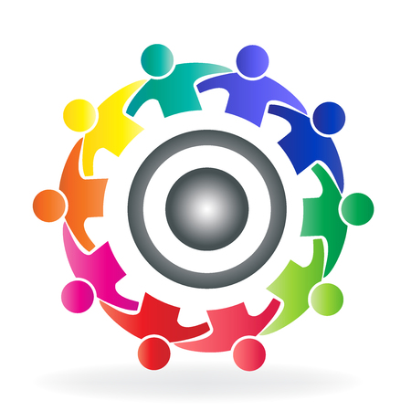 Vector teamwork community solution people logo