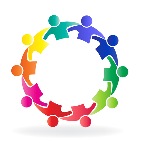 Vector teamwork community people logo Çizim