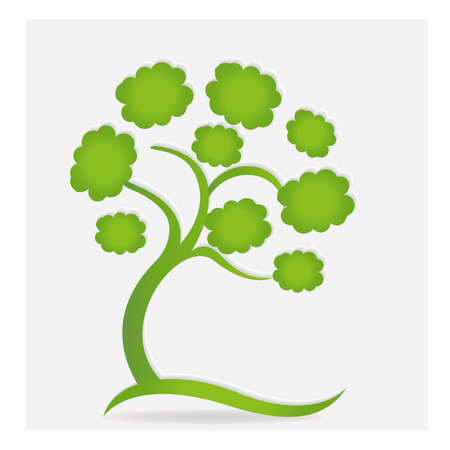 simple life: Family green ecology tree logo vector Illustration