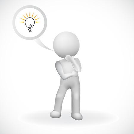 3d man having an idea to solution business logo vector