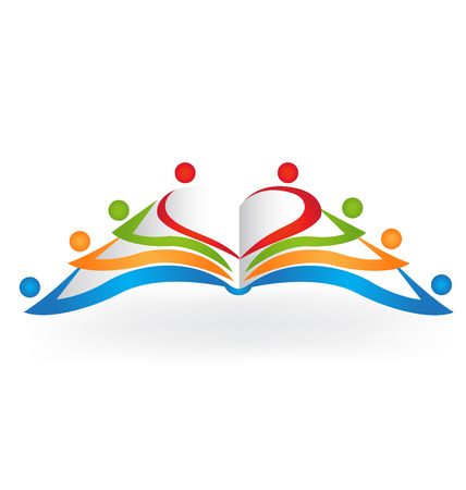 article icon: Book teamwork education logo vector image
