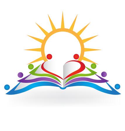 Boek zon teamwork onderwijs logo vector afbeelding