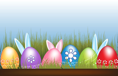 Easter Eggs hunt flowers grass bunnies hidden blue sky symbol of spring holiday decoration design element.Vector image in vivid colors