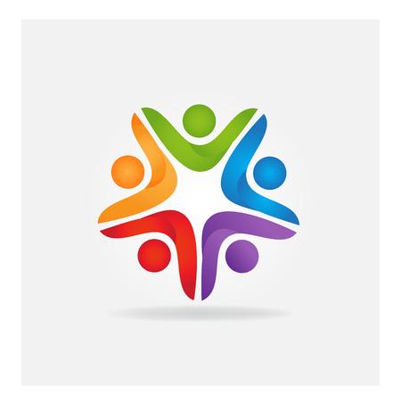 Teamwork leader business people logo vector icon identity card Illustration