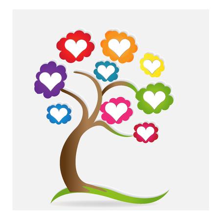 Famille, amour, coeurs, arbre, vecteur. Banque d'images - 80031619