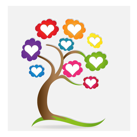 royalty free: Family love hearts tree vector.