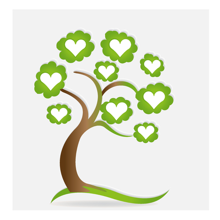 Family love hearts tree vector