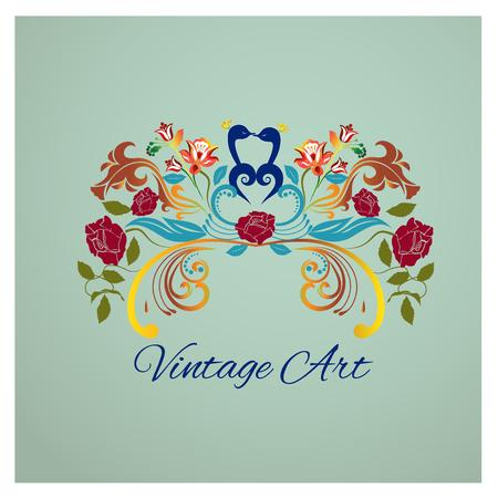 Diseño floral del logotipo de la imagen del pájaro de los pavos reales de la vintage Logos