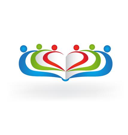 Book teamwork education love heart shape logo vector image