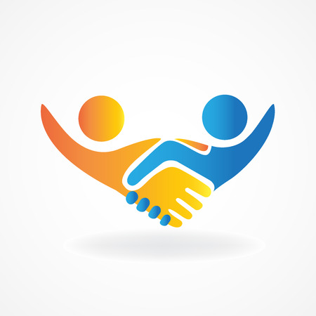Handshake people in business vector icon logo design