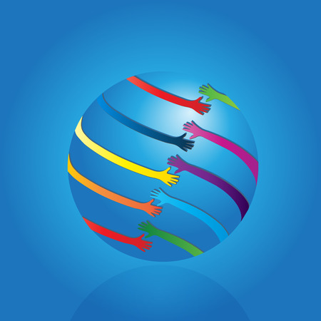 Handshaking business world people icon background