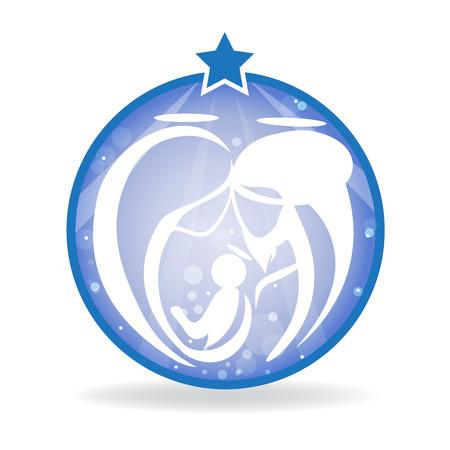 Sacred family silhouette icon logo vector