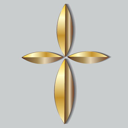 business flying: Beautiful gold cross icon logo Illustration