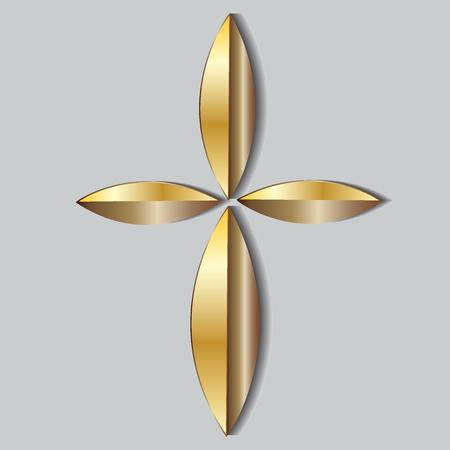 Bellissimo logo dell'icona a croce d'oro Logo