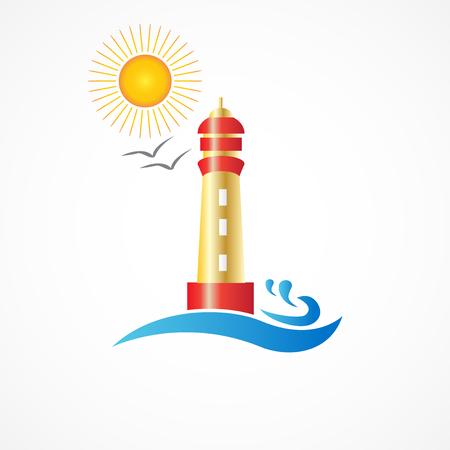 waves: Lighthouse beach logo icon vector design Illustration