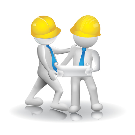 3d Architects workers icon image logo vector Çizim