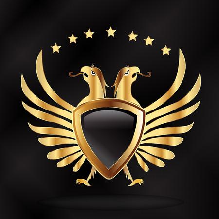 Eagles gold shield logo icon vector Illustration