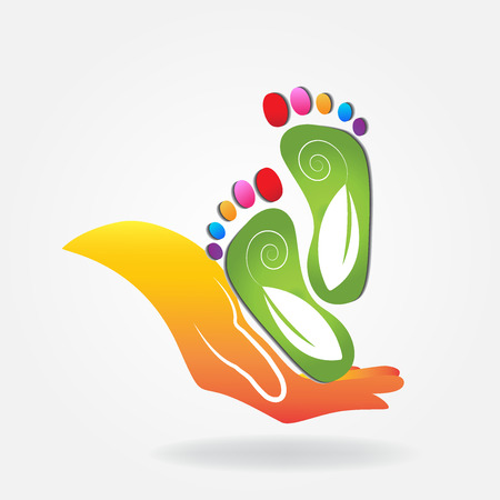 green environment: Podiatry icon logo vector